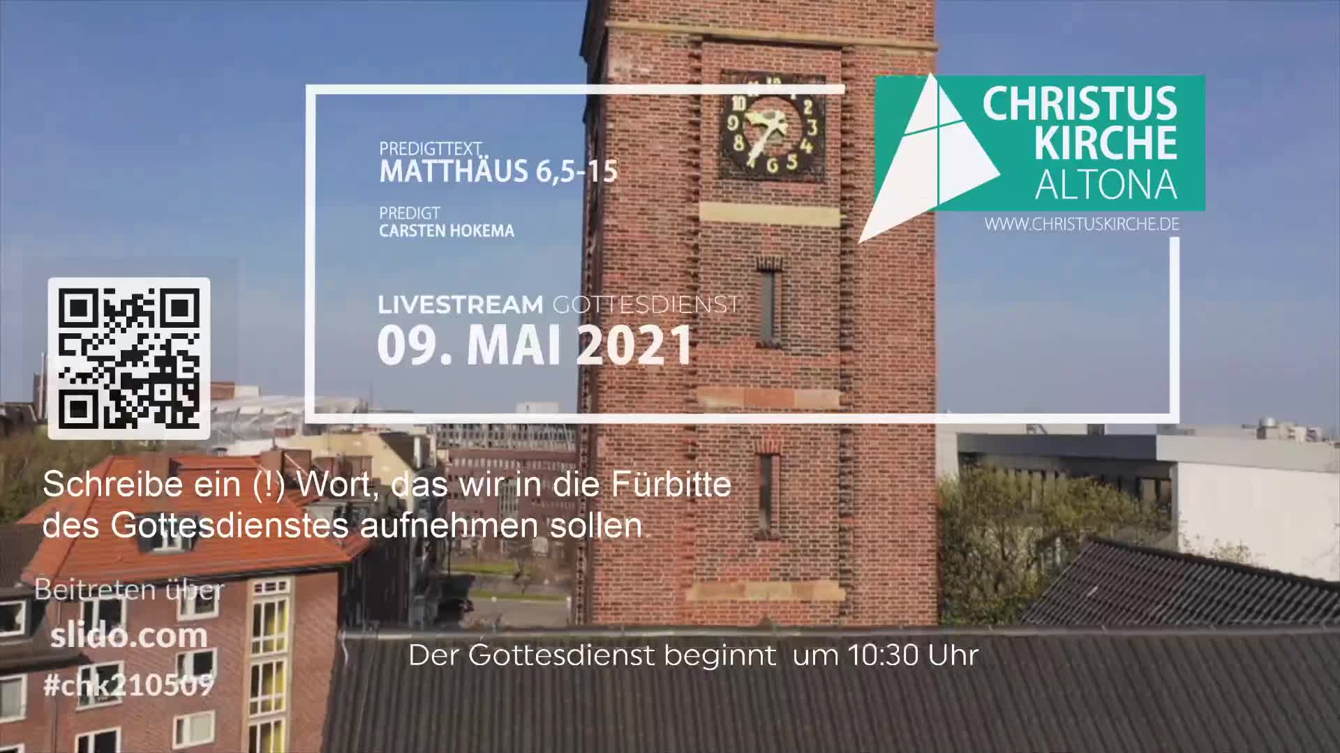 Gottesdienst - am 09. Mai - Livestream aus der Christuskirche Altona
