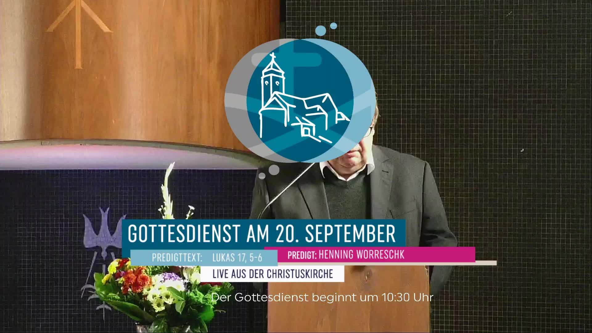 Gottesdienst  am 20. September - Gottesdienst (Aufzeichnung) aus der Christuskirche Altona
