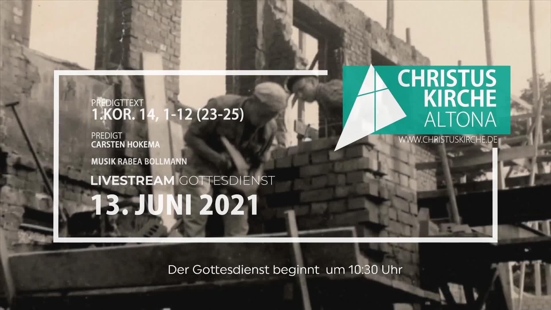 Gottesdienst - am 13. Juni - Livestream aus der Christuskirche Altona