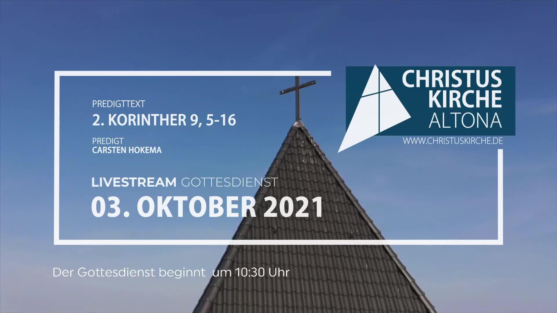 Gottesdienst - am 03. Oktober - Livestream aus der Christuskirche Altona